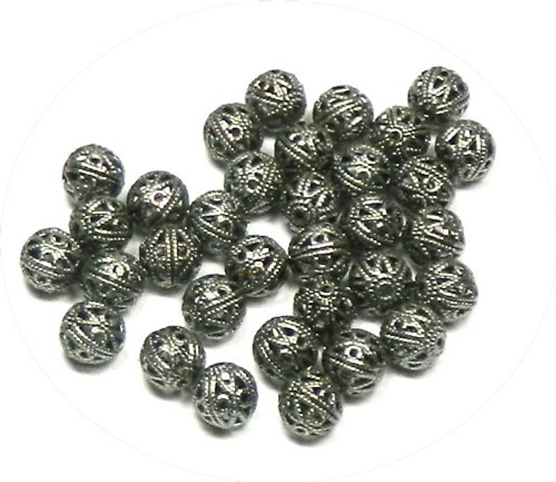 100 Open Weave 6mm Beads Gunmetal-plated Brass, Black Oxide Round Spacer Metal Bead 100