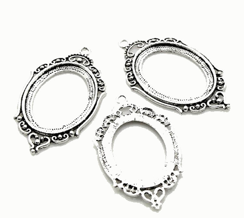 10 Pendants Antiqued Silver-plated Pewter 40x30mm Oval Cabochon Setting Findings RB22541