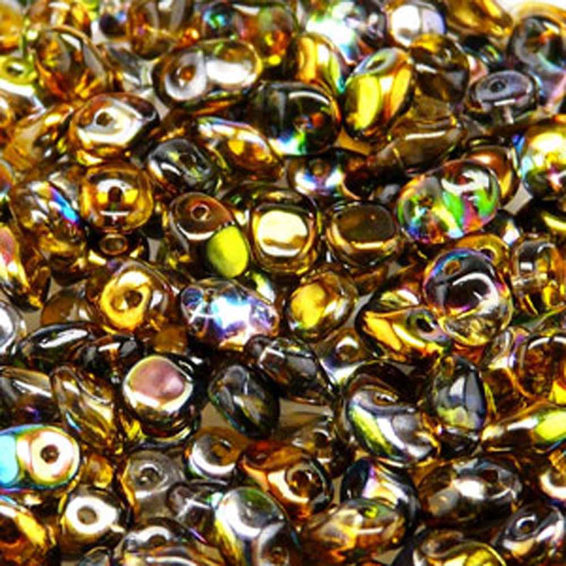 Crystal Magic Orange-grey 2.5x5mm 1 ONE Hole Fringe Czech Glass Seed Beads 20gr