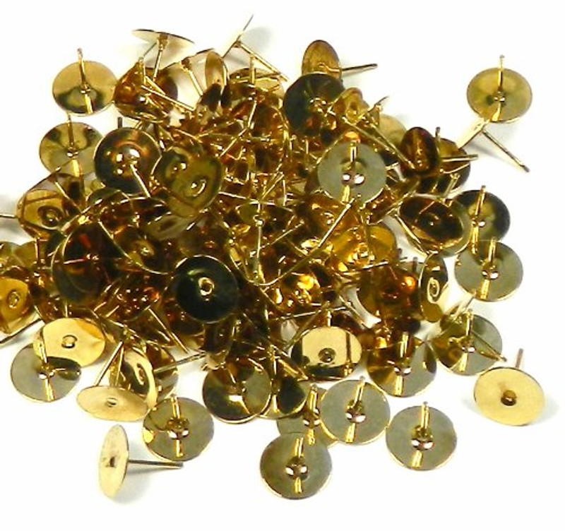 100 Gold Plated Brass 10mm Flat Pad Stainless Steel Post Earring Finding Package of 50 Pair