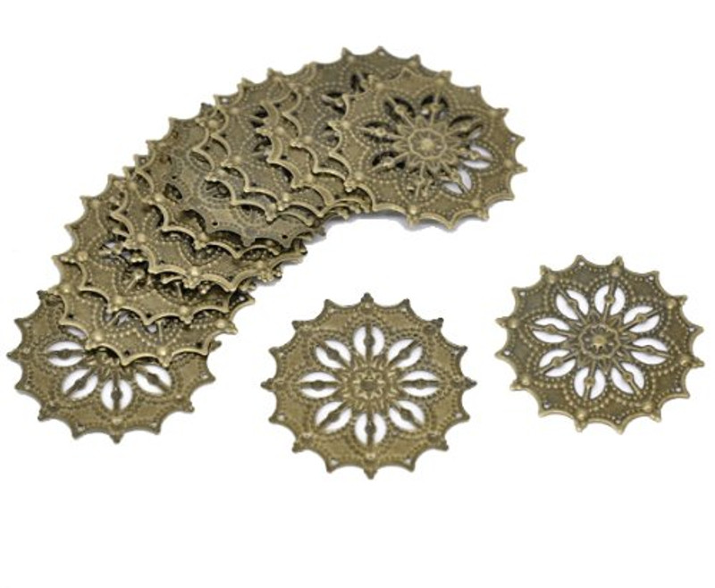 48 Antique Brass Filigree Flower Focal Components 43mm, Jewelry Wrapping Findings