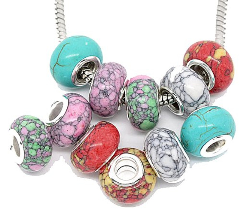 20 Mosaic Turquoise Spacer Beads Fit European Bracelets 14x9mm with 4.5mm Hole 5 Designs