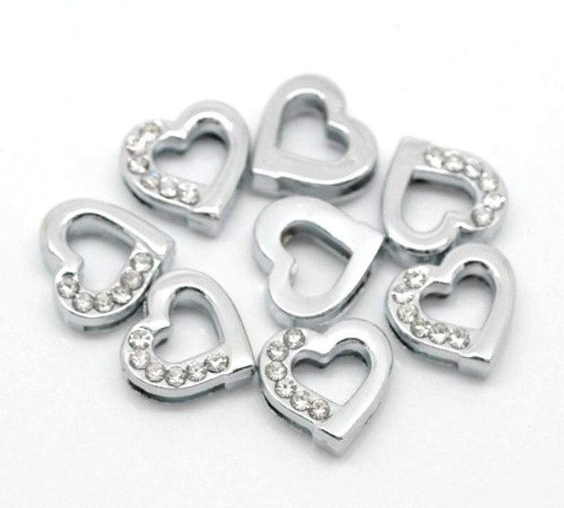 Heart Rhinestone Antiqued Silver Slide on Charm Beads 13mm 20 RB20076