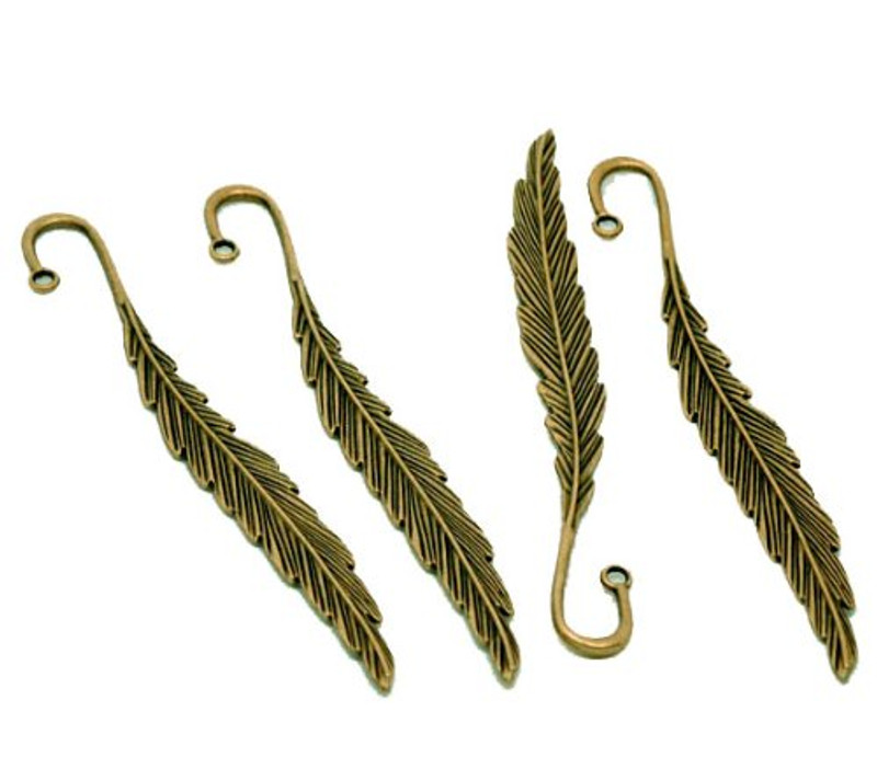 5 Beading Bookmarks Feather Antique Brass 4 1/2 Inch 2.8mm Hole