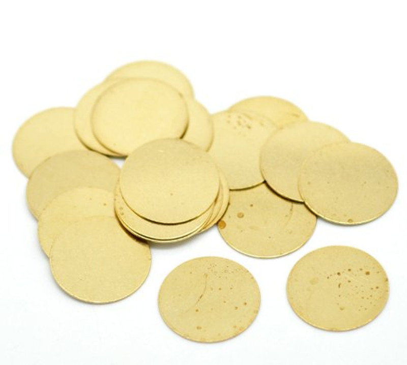 100 Solid Brass Stamping Round Blanks with No Hole Disk Tag Pendants 16mm 5/8 Inch Require Polishing