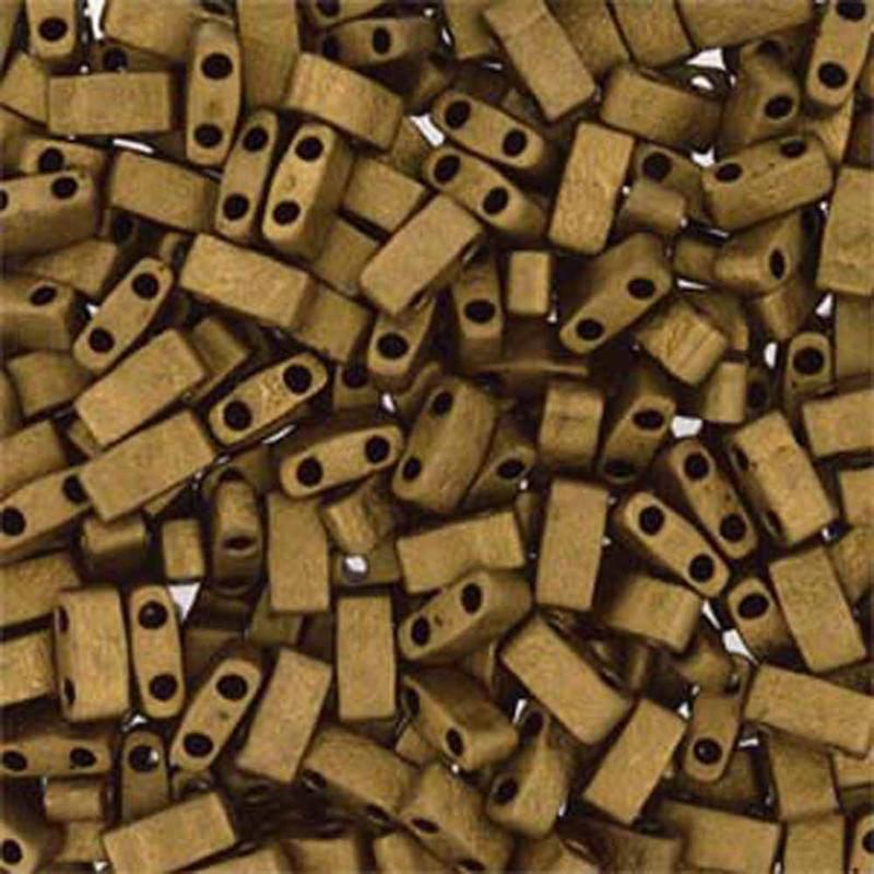 Matte Metallic Gold Half Tila Beads 7.2 Gram Miuki Square 5mm 2 hole