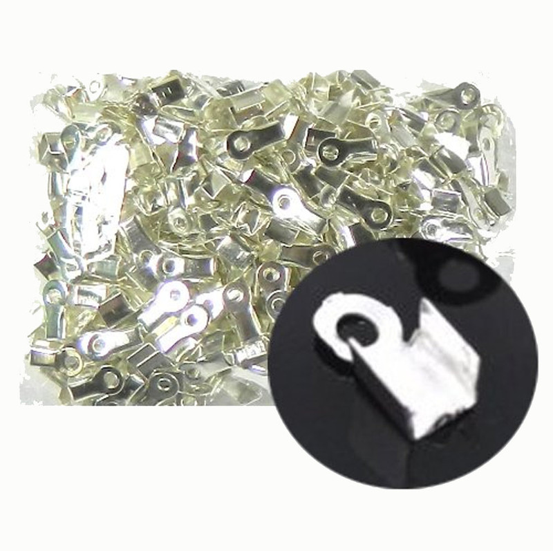 1000 Fold Over Cord Tip/ends Crimps Silver Plated Steel 9x4mm Fit 2mm Cord RB14896