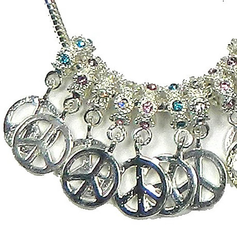 10 Shiny Silver Rhinestone Peace Sign Dangle Charm 4.9mm Hole 12mm Charm RB07588