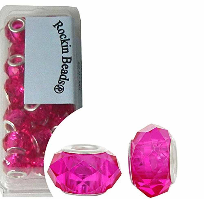 24 Fuchsia Pink Beads Faceted Glass Large 4.5-5mm Hole