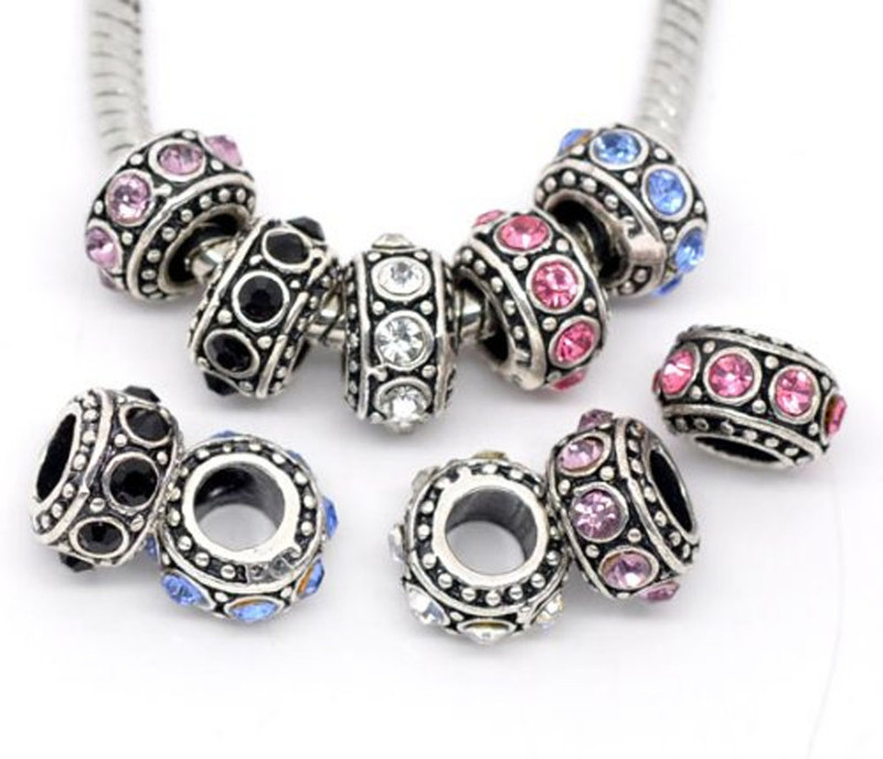 10 Antique Silver Rhinestone Spacer Beads Fit European Bracelet 11mm 10pc RB09186
