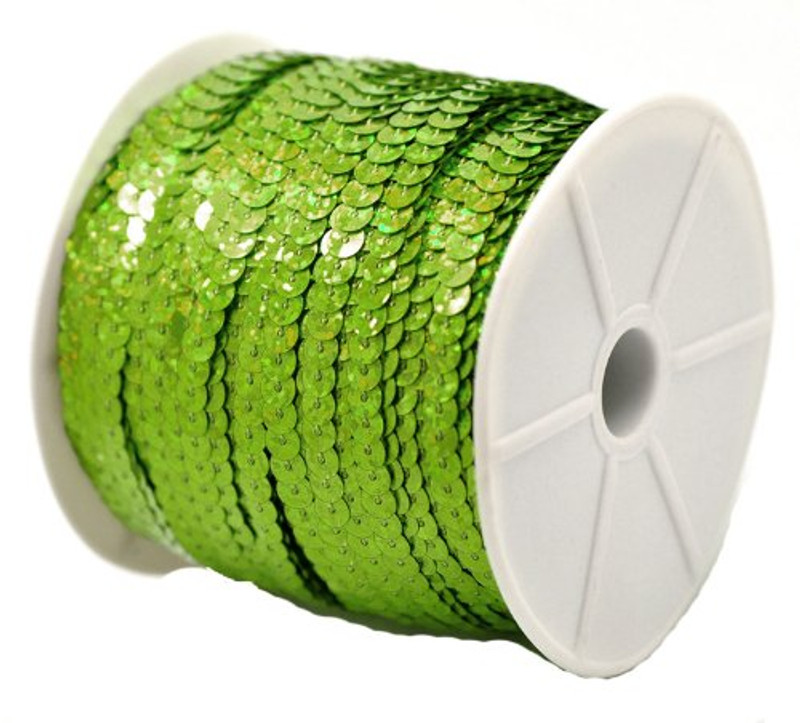 "Sequins Trim Spool String Flat Bling Green 6mm Dia (2/8"") 1 Roll (Approx 75 Yards) RB18127"