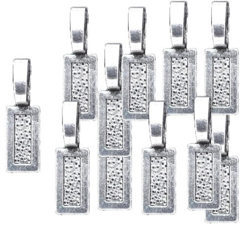 48 Glue on Bails 26x8mm Pendant Hanger Antiqued Silver Silver Plated