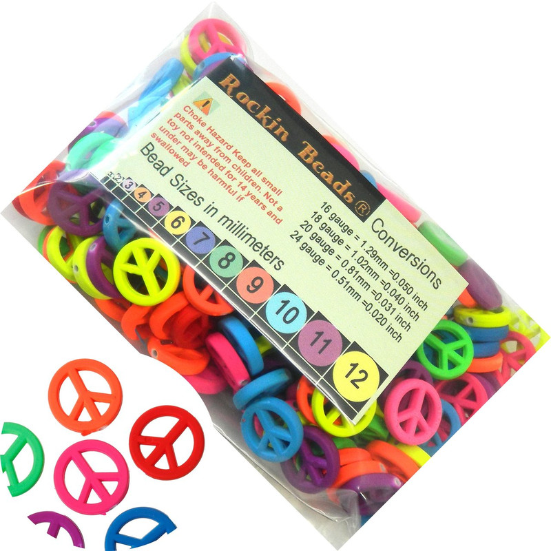 180 Neon Peace Symbol Mixed Acrylic Beads About 17mm Dia with Hole 1.3mm