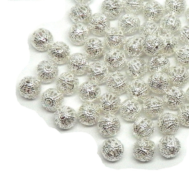 100 Open Weave 8mm Beads Shiny Silver Plated Metal Round Spacer Metal Bead 100
