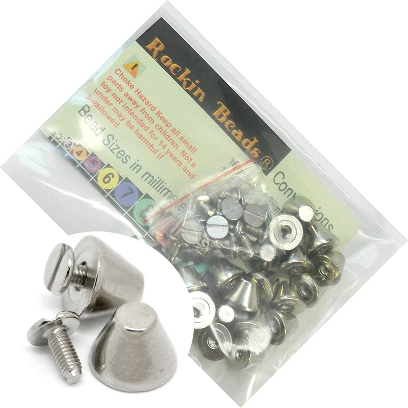 19 Sets Steel Nickel Tone Blunt Nose Screw on Spike Rivet Studs 11x8mm Punk Gothic or Leather Work