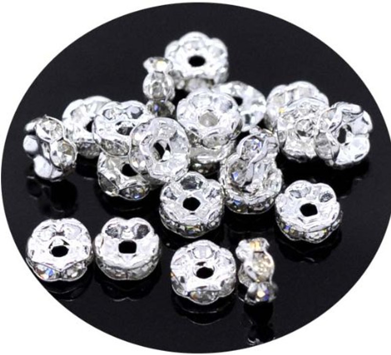 40 Clear Silver Plated Rhinestone 8mm Rondelle Spacer Beads 1.9mm Hole 40