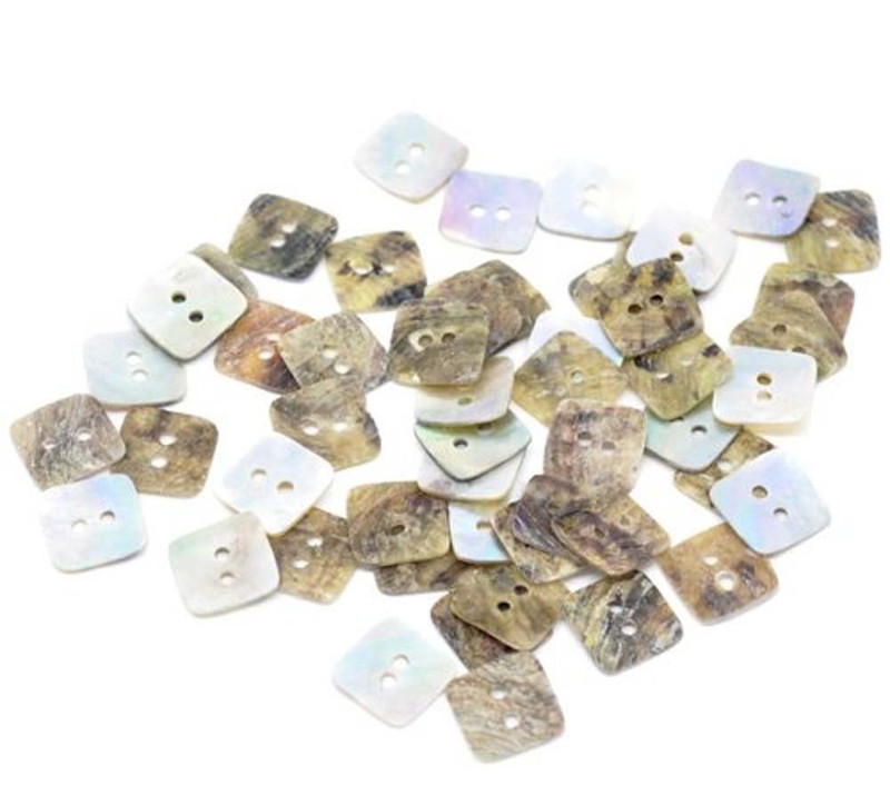 Mother of Pearl Square Sewing Buttons Scrapbooking 12x12mm, Sold Per Pack of 100