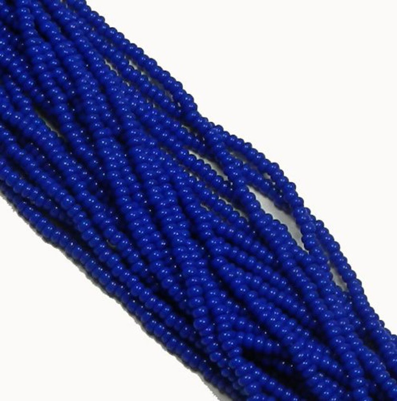 Blue Opaque Czech 6/0 Seed Bead on Loose Strung 6 String Hank