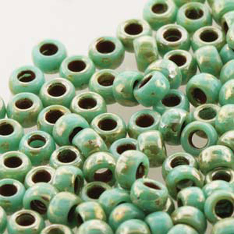 Matubo Czech Glass Seed Beads 6/0 (4.1mm) 50 Grams 1.6mm Hole (Turq Green Picasso) MTB06-63130-43400