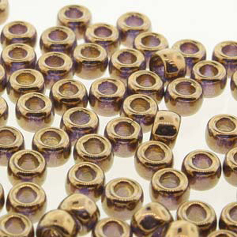 Matubo Czech Glass Seed Beads 6/0 (4.1mm) 50 Grams 1.6mm Hole (Crystal Gold) MTB06-00030-90215