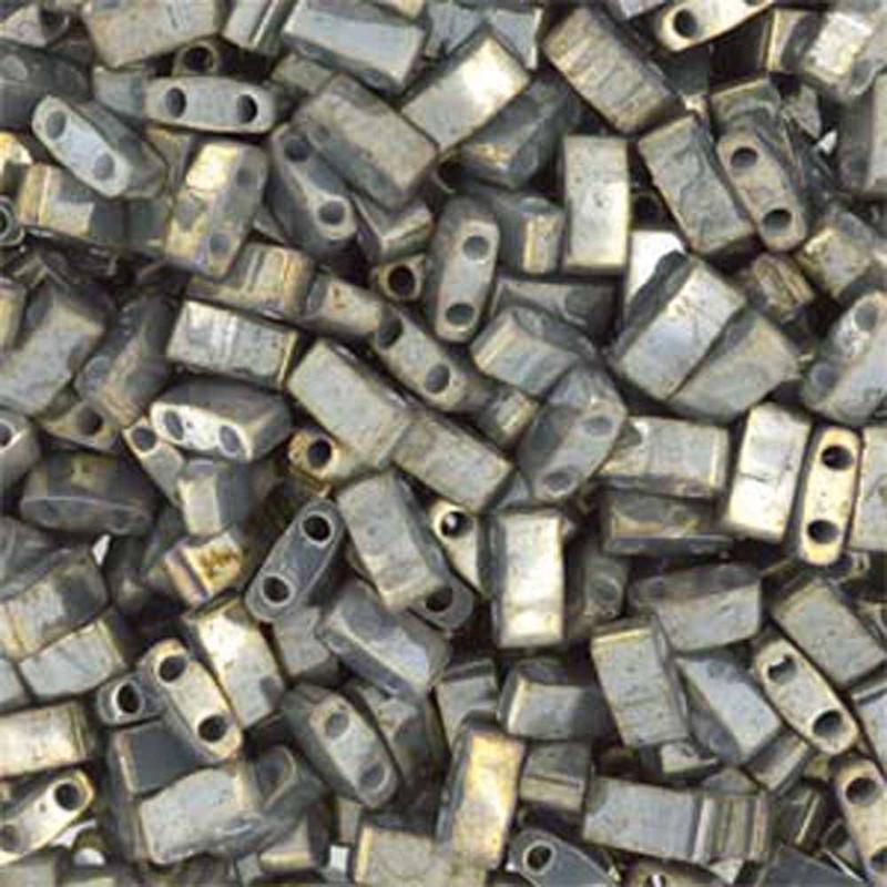 Galvanized Gery Luster Half Tila Beads 7.2 Gram Miuki Square 5mm 2 hole