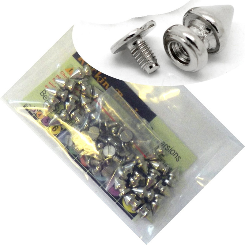 28 Sets Steal Tone Cone Screw on Spike Rivet Studs 11x7mm Spike Punk Gothic or Leather Work