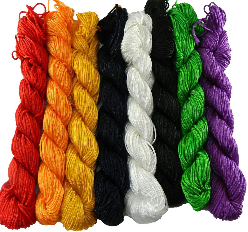 Chinese Knotting Beading Cord Mixed Approx 1mm 8 (25 yard Skeins) for Crafts and Knotted Jewelry Like Shamballa Bracelets