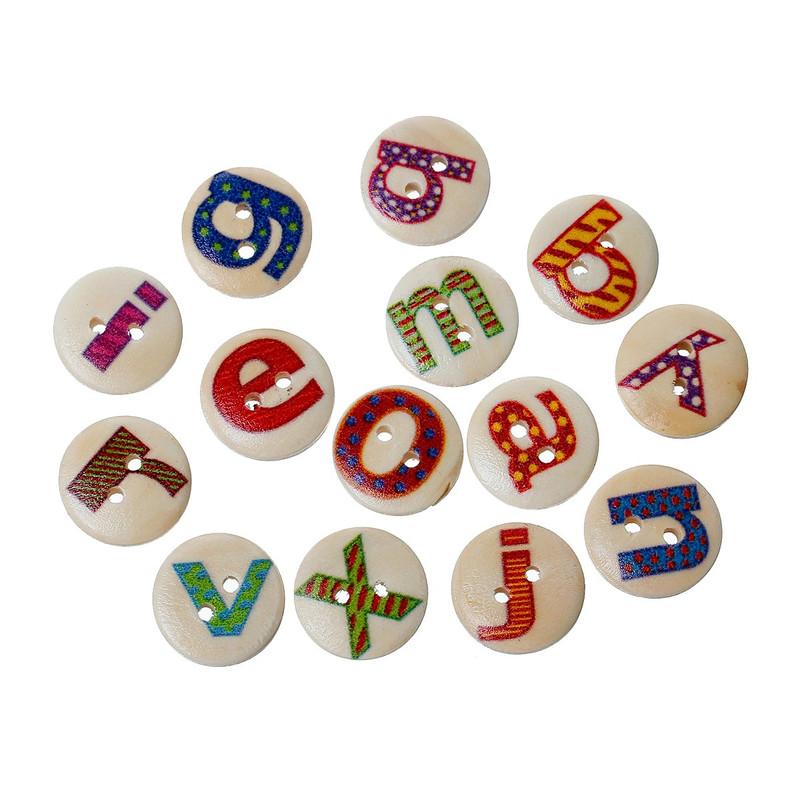 "180 Wood Sewing Buttons Scrapbooking Mixed Alphabet/letter ""A-z"" Randum 2 Holes Mixed 15mm 3/5 Inch"