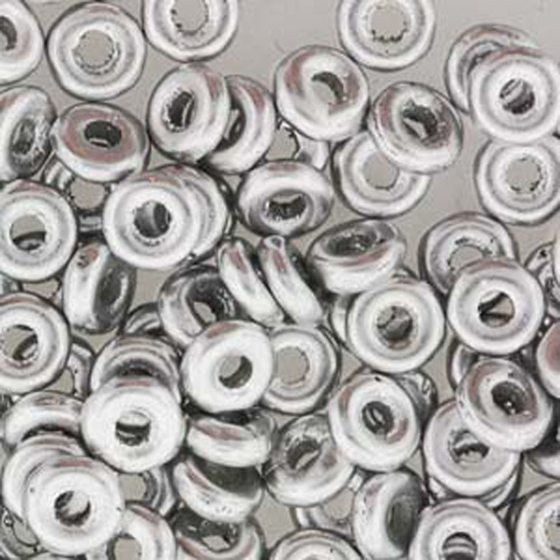 Aluminum Silver O-beads 3.8x1mm Czech Glass Mini Flat Ring 8 gram
