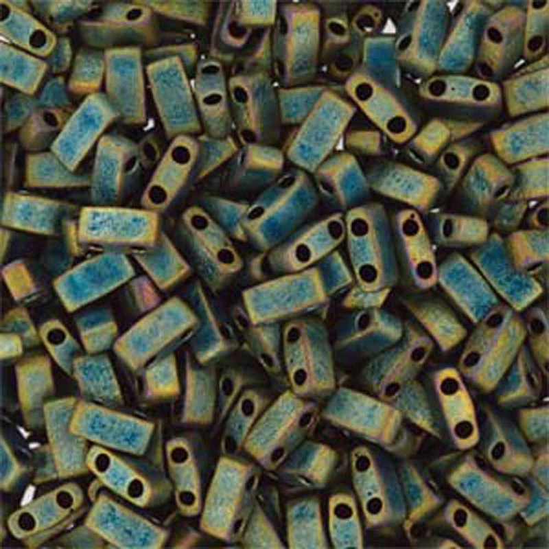 Metallic Iris Green Matte Half Tila Beads 7.2 Gram Miuki Square 5mm 2 hole