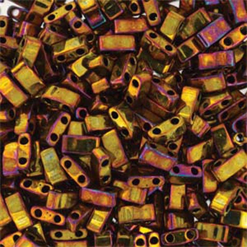 Gold Iris Half Tila Beads 7.2 Gram Miuki Square 5mm 2 hole