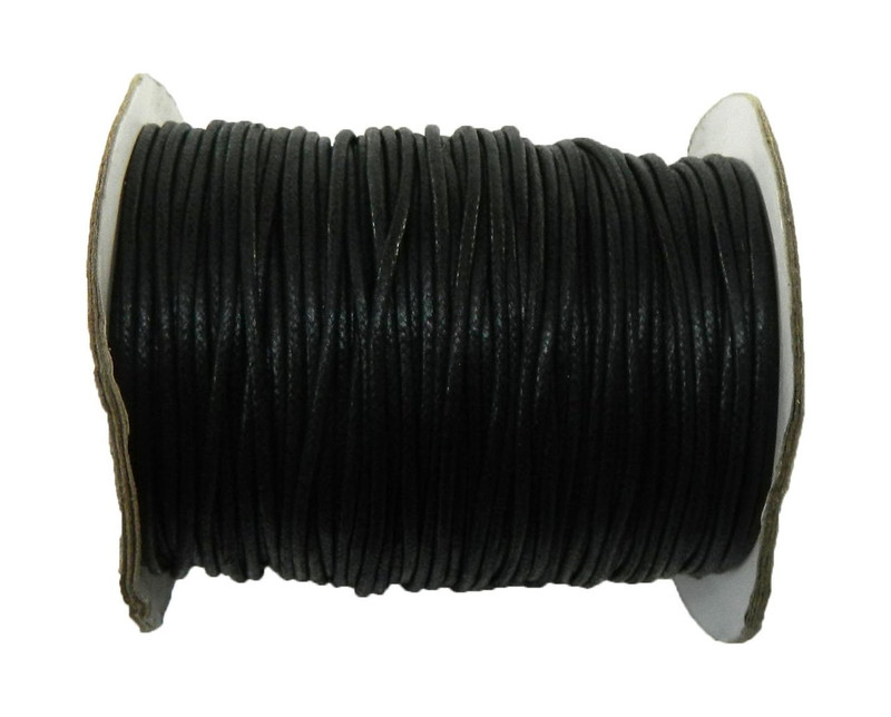 80 Yards Black Waxed Cotton Cord 2mm to 3mm for Bracelet/ Necklace 80 Meeter