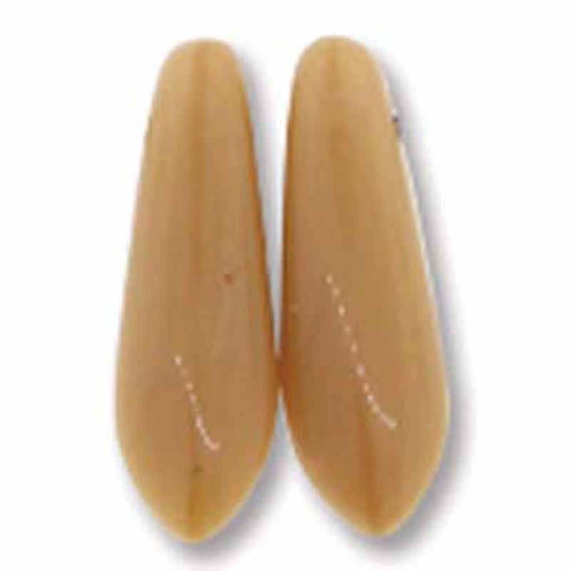 Ivory 50 Czech Glass Dagger Drop Beads 3x11mm