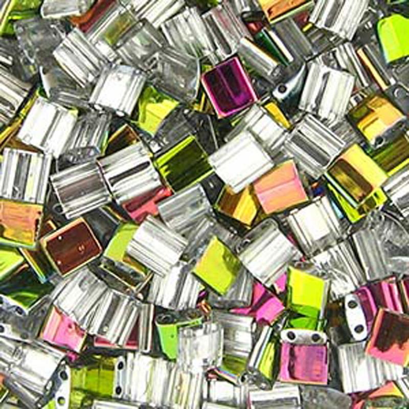 Crystal Vitrail Miyuki Tila Beads 7.2gm 2 Hole Seed Bead 5x5mm