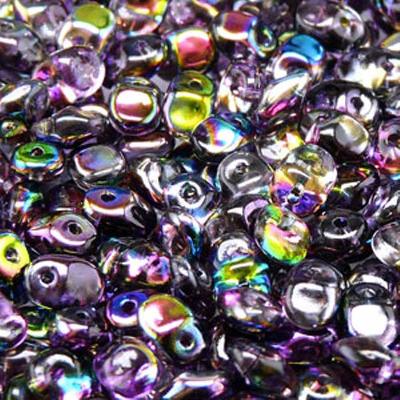 Crystal Magic Violet Grey 2.5x5mm 1 ONE Hole Fringe Czech Glass Seed Beads 20gr