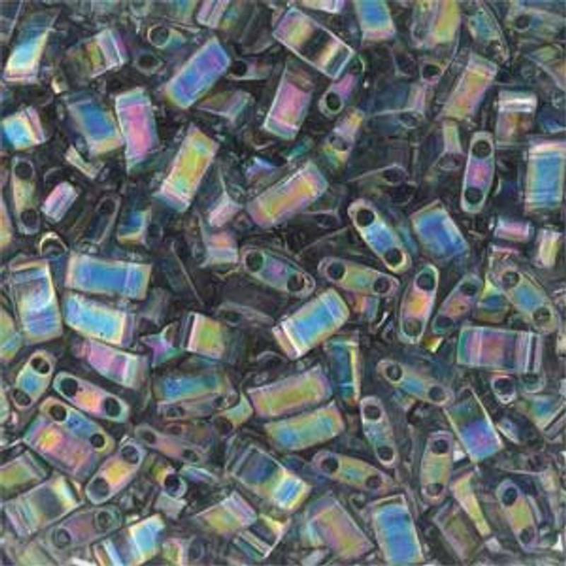 Grey Rainbow Luster Half Tila Beads 7.2 Gram Miuki Square 5mm 2 hole