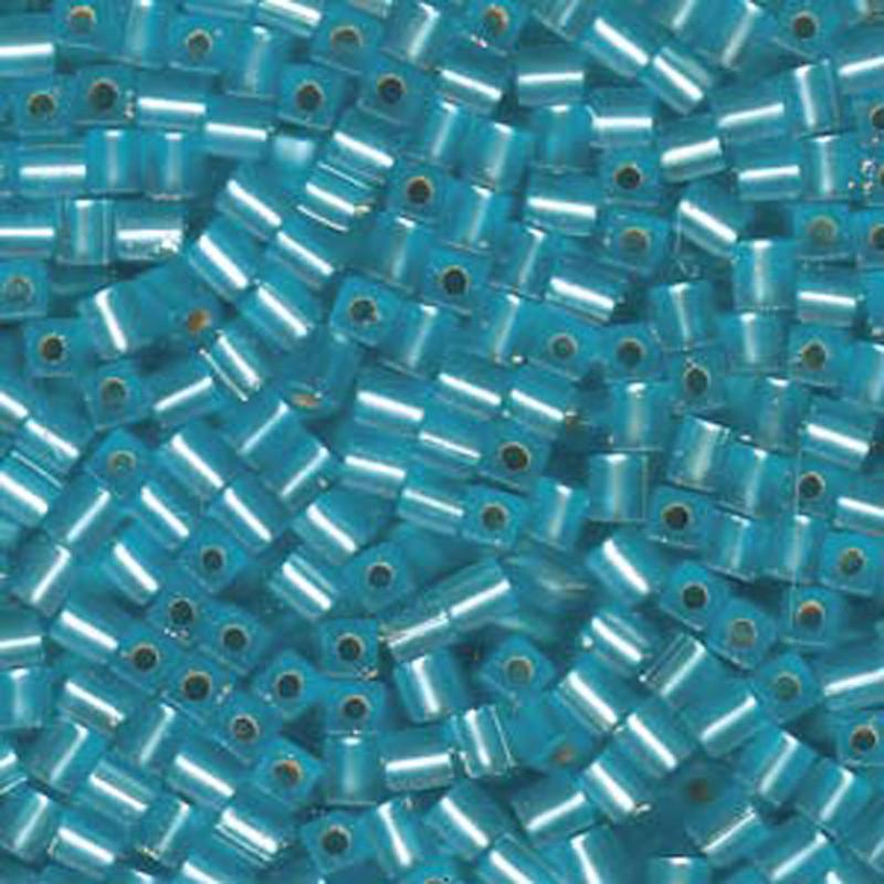 20Gr Aqua Matte Silver Lined Miyuki 4mm Square Cube Glass Seed Beads