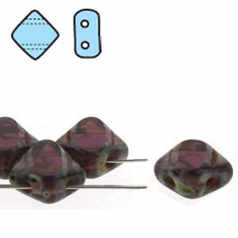 Dark Amethyst Picasso Table Cut 6mm Diamond Glass Czech Two Hole Tile Bead 40 Beads