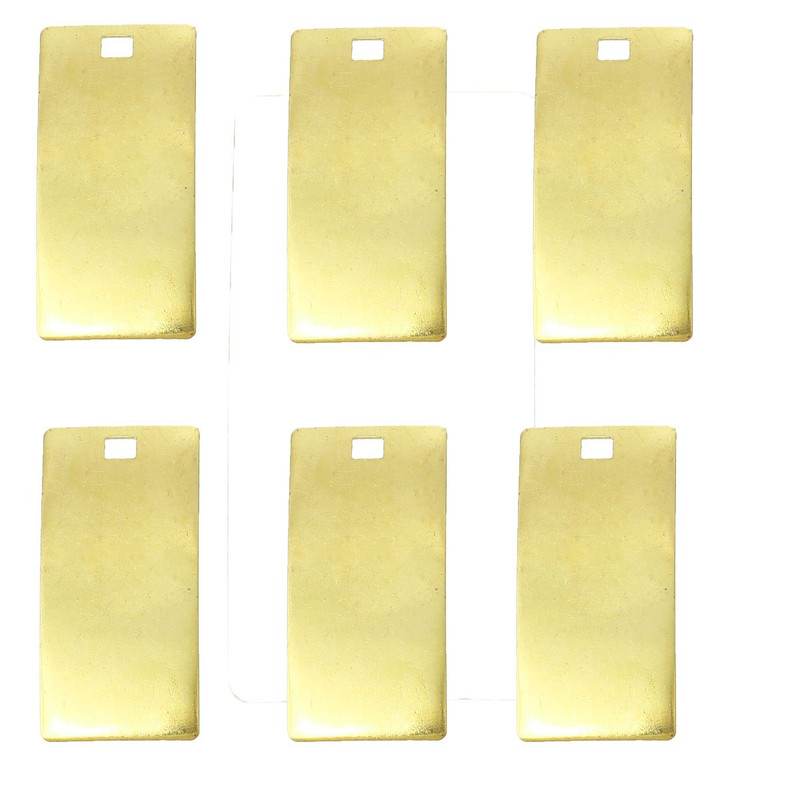 25 Brass Plated Alloy Metal Stamping Blanks Rectangle Drop 34x16mm