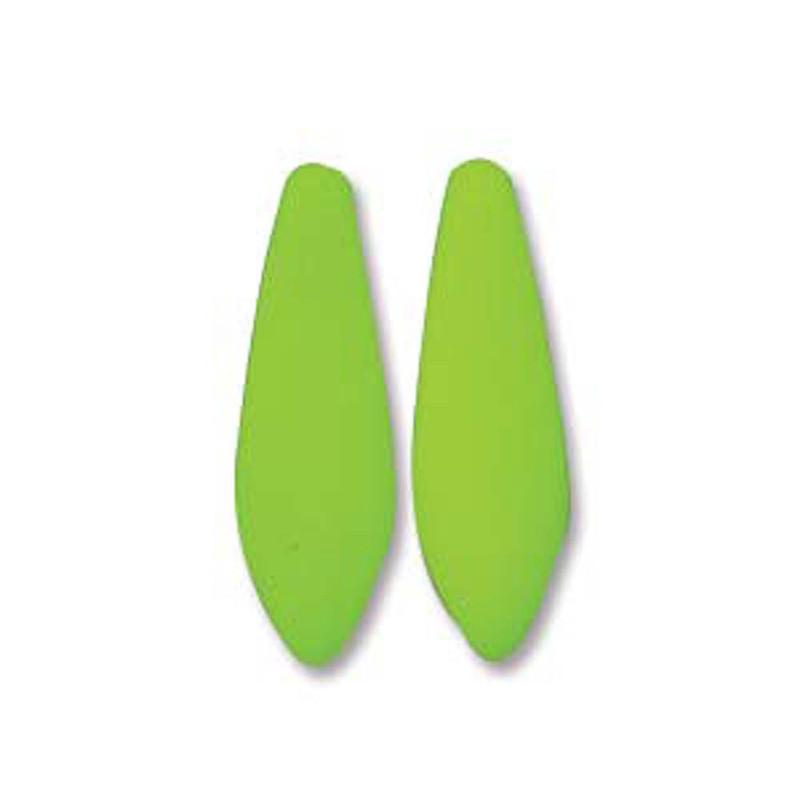 Neon Lime 25 Czech Glass Dagger Drop Beads 5x16mm