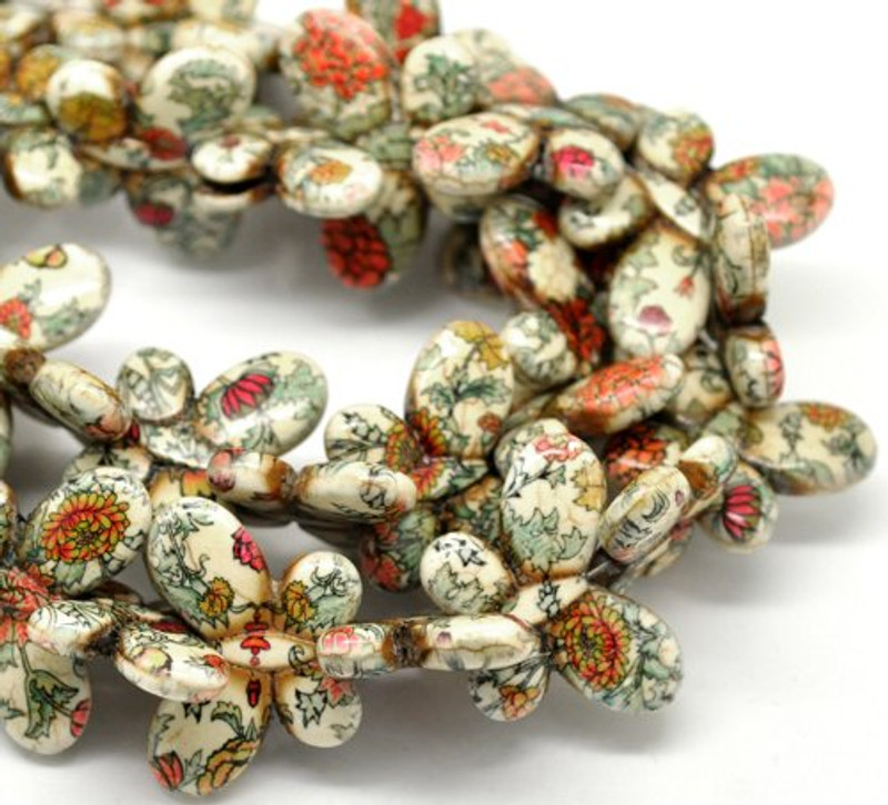 1 Strand Dyed Multicolor Pattern Synthetic Howlite Turquoise Butterfly Beads 35x25mm