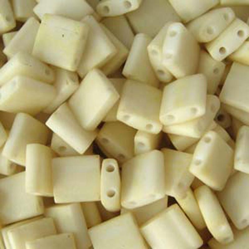 Cream Matte Miyuki Tila Beads 7.2gm 2 Hole Seed Bead 5x5mm