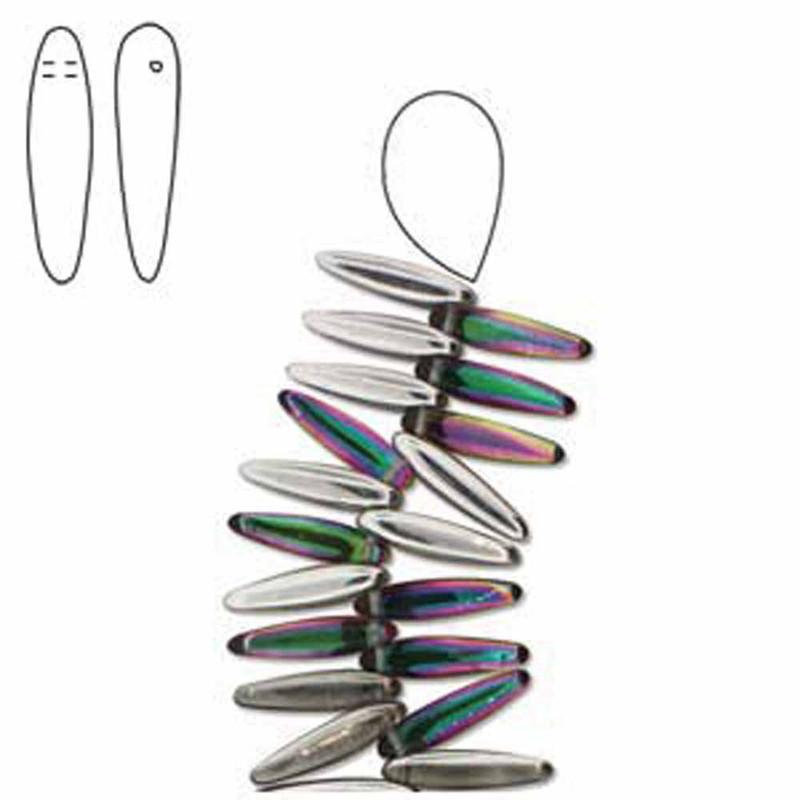 Vitrail Green Czech Glass Thorn Beads 5x16mm Apprx 48bds
