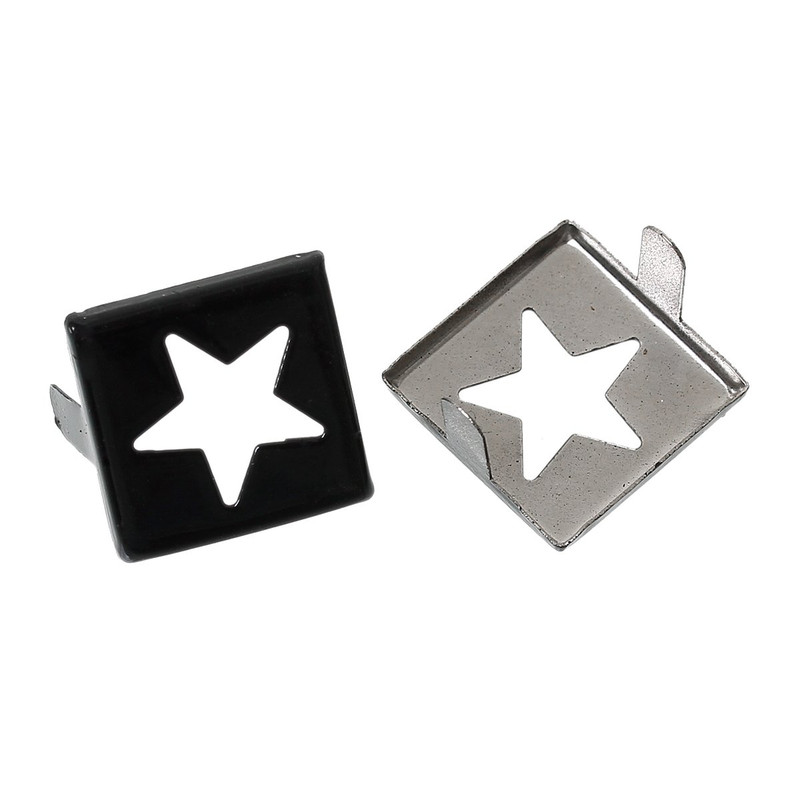Spike Rivets Studs Square Silver Tone Star Pattern Painted Black 15mm X 15mm, 250 Pcs