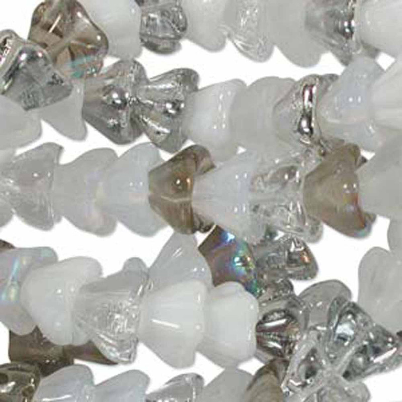 Apparition Mix 6x8mm Flower Cone 45 Bead Cap Czech Glass Beads