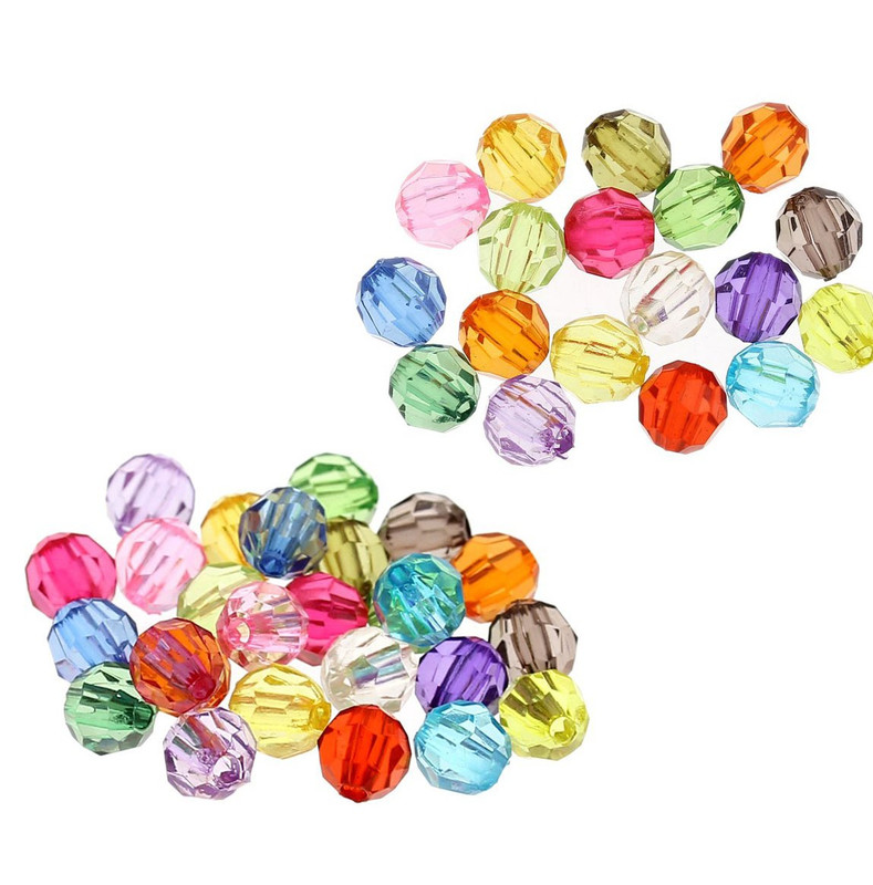 480 Mixed Acrylic Trasparent Plastic Round Faceted Spacer Beads 6mm Craft Grade