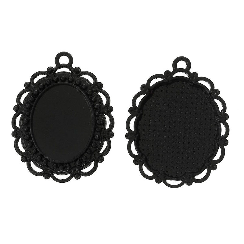 10 Black Plated Zinc Oval Cabochon Setting Pendant 31x24mm Fits 18x14mm RB37372