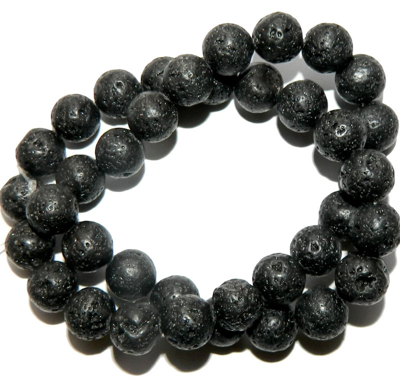 "10mm Volcanic Lava Rock Natural  Round Beads 40cm 15""  Stone"