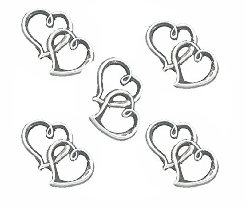 18 Charm Pendants Beads 2 Open Heart Antique Silver 32x25mm RB05054