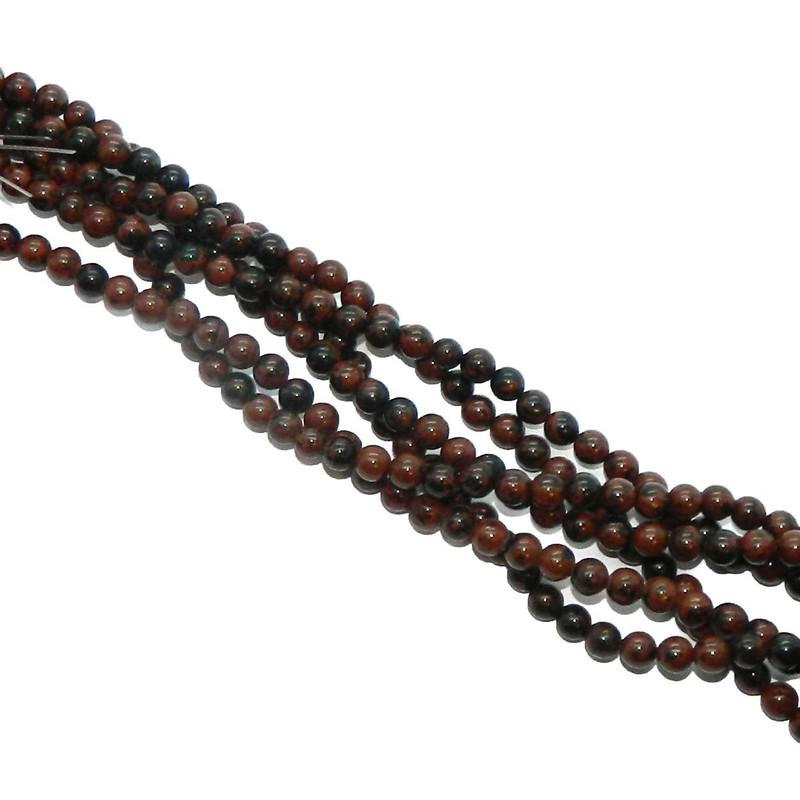 "6mm Mahogany Obsidian Natural  Round Beads 40cm 15""  Stone"